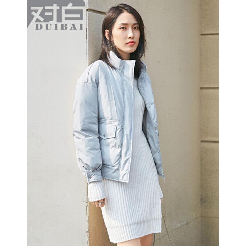 对白纯色简约长袖小棉袄女短款2017新款时尚直筒保暖冬季外套