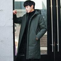 冬季新款羽绒服男中长款英伦加厚连帽男装纯色修身青年上衣服外套