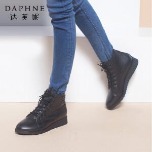 达芙妮正品女鞋秋冬靴子保暖潮流牛皮短靴系带时尚马丁靴平底女靴