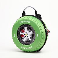 儿童幼儿园斜挎书包小中大班3-6岁3D立体车轮胎可爱个性零食背包 新款绿色 中号