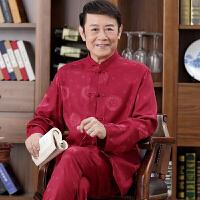 春秋季中老年唐装男士长袖套装立领爸爸装中国风宽松大码丝质衬衫