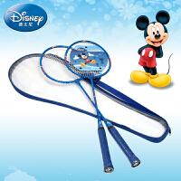 迪士尼儿童羽毛球拍6-10-12岁卡通2支装超轻材质学生小孩米奇球拍