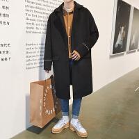 男士韩版中长款风衣男翻领秋冬季修身呢子大衣男潮流帅气毛呢外套 黑色 M