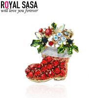 皇家莎莎Royalsasa韩国流行时尚新款合金人造水晶胸针节日款胸花别针-人造水晶靴