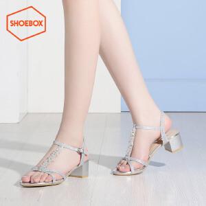 达芙妮旗下shoebox鞋柜夏季新休闲中跟方跟凉鞋时尚水钻女鞋1116303265