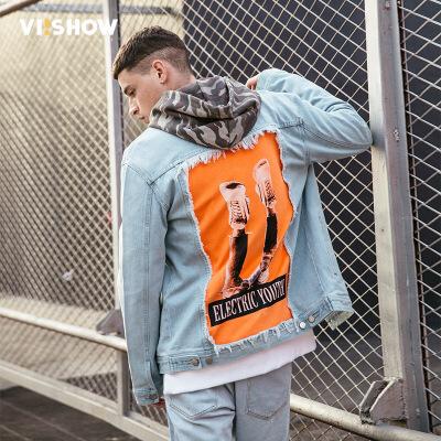 VIISHOW2018春季新款牛仔夹克男 情侣嘻哈男士外套棒球服青年上衣满199减20 满299减30 满499减60 全场包邮