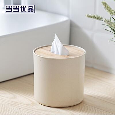 当当优品 竹盖圆形纸巾盒 简约家用卷纸筒 米色当当自营 外形时尚简约 天然材质纹理优美 盒直径13cm
