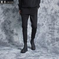 韩版新款男士加绒百搭休闲裤子 个性溜须设计潮男修身小脚裤西裤 黑色