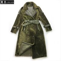 新款土耳其皮毛一体大衣女中长款羊剪绒羊羔毛皮草真皮冬外套