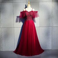 敬酒服新娘秋季2018结婚新款红色长款一字肩显瘦聚会优雅晚礼服女 酒红色