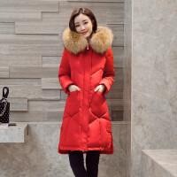 红色羽绒服女中长款新款真毛领加厚修身冬装 S 建议105斤内