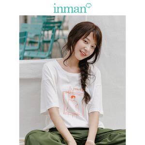 茵曼夏装新款纯棉落肩袖宽松趣味多色印花T恤女【1882022470】