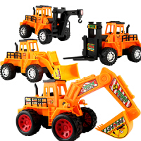 儿童惯性工程车套装宝宝挖土机推土机铲车吊车挖掘机玩具汽车模型 全套4件惯性(送回力小飞机)