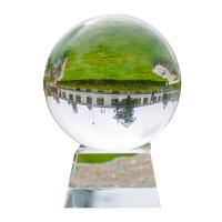 玻璃摆件工艺品 水晶球风水转运白色透明摄影拍照开业礼品书房办公桌