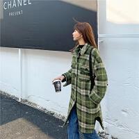 七格格毛呢外套女中长款2019秋冬新款韩版格纹洋气呢子时尚呢大衣