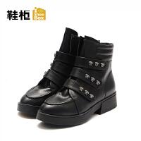 达芙妮集团/鞋柜秋冬女靴欧美短筒平跟切尔西靴女-1