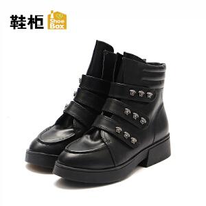 达芙妮旗下鞋柜秋冬女靴欧美短筒平跟切尔西靴女-1