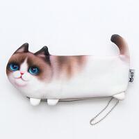 包邮日韩可爱仿真猫咪脸笔袋学生女可爱创意喵星人文具收纳袋收纳包