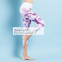 20180415081549032紧身瑜伽裤 女 个性3D印花瑜伽服 修身显瘦运动健身裤 夏季七分裤