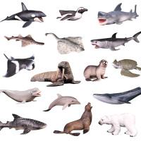 海洋生物动物模型玩具大白鲨鱼北极熊虎鲸海龟海豚企鹅魔鬼鱼