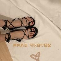 乌77 韩国 chic百搭交叉绑带流苏平底鞋夹脚圆头凉鞋罗马鞋女鞋夏 黑色 预售