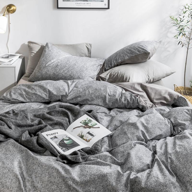 ins北欧裸睡棉四件套网红简约学生宿舍床上三件套纯棉床单被套4