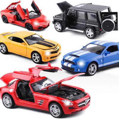 美致1:32保时捷布加迪奔驰合金小汽车模型儿童玩具声光回力开门