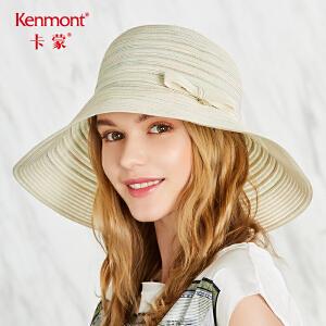 卡蒙海边帽子太阳帽女夏天沙滩帽防晒防紫外线遮阳帽百搭可折叠帽3567