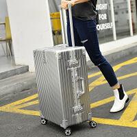 七夕礼物新款拉杆箱abs铝框旅行箱万向轮复古20寸24寸行李箱 银【铝框】 29寸
