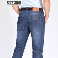 JEEP吉普牛仔裤男春夏基础款直筒牛仔长裤潮流男装弹力休闲薄款裤子