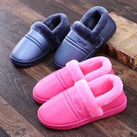 冬季棉拖鞋女室内防滑厚底居家居防水软底保暖月子鞋毛毛拖鞋男冬