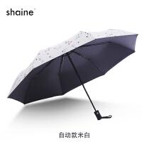 女士折叠小花伞黑胶防紫外线黑伞厂直批学生遮阳三折全自动晴雨伞