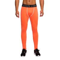 运动紧身裤男 篮球足球训练长裤夏 跑步服压缩裤 打底弹力透气速干健身裤 AWJCK-2015004橙拼白线