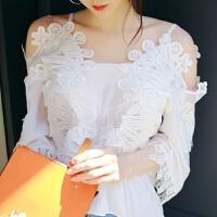 一字肩上衣女夏季新款韩版白色一字领雪纺衫短袖蕾丝吊带露肩上衣 白色
