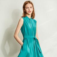 【券后预估价:187元】Amii极简优雅无袖立领连衣裙2020夏新款配腰带直筒收腰显瘦女裙