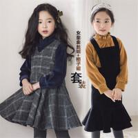 女童背心裙秋冬亲子装母女韩版格子公主裙中大童冬季连衣裙子