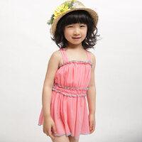 儿童泳衣女孩女童泳衣连体裙式中大童 学生保守游泳衣韩版泳装 支持礼品卡支付