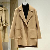 西装领双面呢大衣女2017冬装新款 韩版宽松百搭纯色休闲毛呢外套