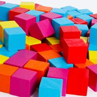 婴幼儿1-2-3岁以下宝宝教学教具玩具100粒方块木制正方体积木