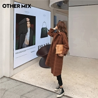 七格格othermix巧克力色毛呢大衣女冬季2020年新款加厚格子中长款呢子外套