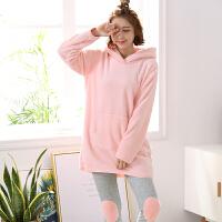 法兰绒睡衣女冬珊瑚绒加厚套装 冬季家居服女可爱卡通大码两件套 粉红色