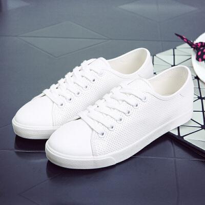 环球 韩版低帮时尚系带平底镂空透气网面鞋