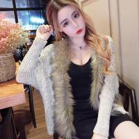 小袄女冬 短款 韩版毛领蝙蝠袖针织女神范开衫百搭宽松毛衣外套潮