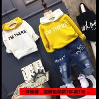 男童春秋2017年秋冬女儿童加绒连帽卫衣韩版长袖T恤拼色小童