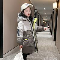 女童棉衣�和�外套冬�b中�L棉�\大童羽�q
