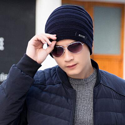 帽子男冬天韩版男士针织帽加绒加厚毛线帽冬季套头帽子冬季保暖帽 羊毛混纺 金属装饰
