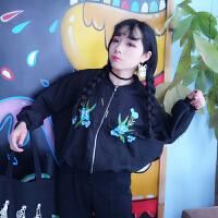 春装新款女装2018韩版时尚绣花短外套女学生黑色宽松棒球服夹克潮