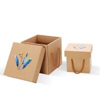 纸箱礼品盒礼盒牛皮纸盒食品零食礼品盒土特产水果包装盒 牛皮纸盒-空白 20x20x20