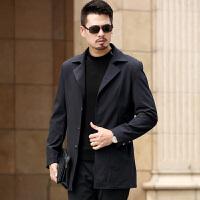 新款男士风衣男装外套中长款韩版修身春秋季薄款中年休闲夹克 黑色 0/M