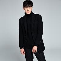秋冬季中长款韩版修身毛呢西装羊毛呢子外套男士西服上衣条纹潮